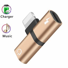 2 IN 1 Metal Splitter Lightning Audio And Charger Adapter Multi Color