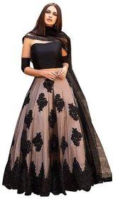 Designer Cream and Black Color  Net Material Festival Wear Lehengha choli For Women And Girls(Chiku black)