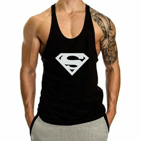 The Blazze 0019 Men's Superman Gym Tank Gym Tank Stringer Tank Tops for Men Gym Vest for Men Sleeveless Bodybuilding Gym Tank Tops for Men