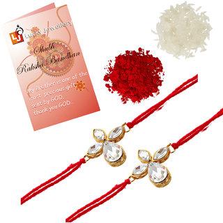 Lucky Jewellery Fancy Rakhi Gold Plated Red Thread For Bro/Brother/Bhaiya/Bhai/Bhabhi (Pack of 2) Rakshabandan Rakhe White Stone Rakhee Bracelet Rakshasutra For Boys & Men (152-L1R1-06-W-2)