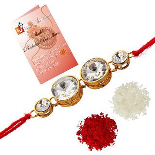 Lucky Jewellery Fancy Rakhi Gold Plated Red Thread For Bro/Brother/Bhaiya/Bhai/Bhabhi (Pack of 1) Rakshabandan Rakhe White Stone Rakhee Bracelet Rakshasutra For Boys & Men (76-L1R1-10-W-1)