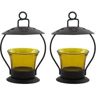 Decorate India yellow color Decorative T-Lite Candle Holder  Iron Votive set of 2