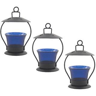 Decorate India Sky Blue color Decorative T-Lite Candle Holder  Iron Votive set of 3