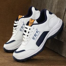 white blue running sports shoe for men