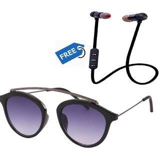 Ivonne Black UV Protected Full Rim Wayfarer Unisex Sunglasses With Free Bluetooth Headset