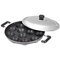 Kuber Industries Heavy Weight Non-Stick 12 Cavity Appam Patra Side Handle with lid, Black (Appam03)