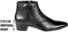 Bxxy's Mens Faux Leather Height Increasing Formal Slip-On Boots on Cuban Sole