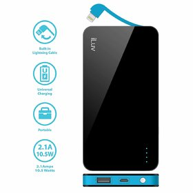 iLUV Black 50L 5000 mAh PowerBank with MFI in-built Lightning Cable