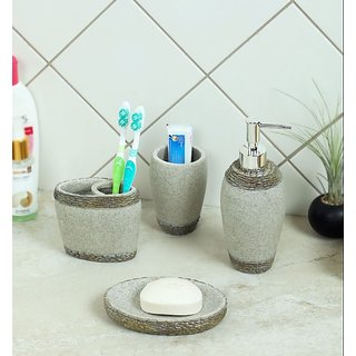 Zahab Ceramic Look Bathroom Accessories Set of 4pcs- Soap Dish Liquid Soap Dispenser Toothbrush Holder Tumbler Holder