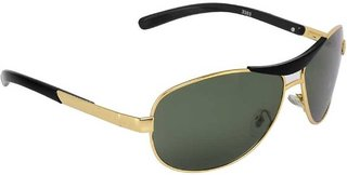 Ivy Vacker Glass Lens Golden Green Rectangular Sunglass for Men