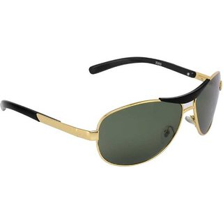 Ivy Vacker Glass Lens Golden Green Rectangular Polarized Sunglass for Men