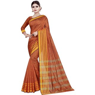 Great Rate Women's Banarasi Silk Saree (Maharani Butti Orange)