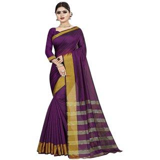 Great Rate Women's Cotton Silk Woven Saree (LP Pallu Purple)