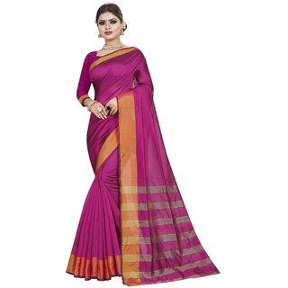 Great Rate Women's Cotton Silk Woven Saree (LP Pallu Pink)