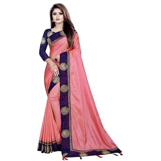 Great Rate Women's Paper Silk Embroidery Lace Border Saree (Roshni Hathi Peach)