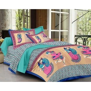 G-Trading Hub 160 TC Pure Cotton Jaipuri Double Bedsheet With 2 Pillow Covers