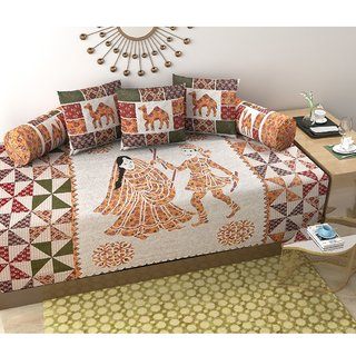 G-Trading Hub 160 TC Pure Cotton Diwan Set With 3 Cushion Covers And 2 Bolster Covers