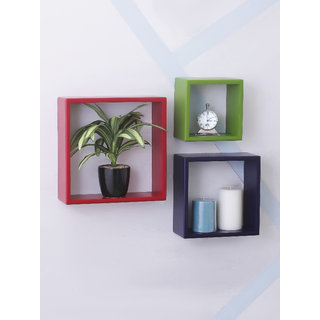 Home Sparkle MDF Set of 3 Square Wall Shelves For Wall Dcor -Suitable For Living Room/Bed Room (Designed By Craftsman)