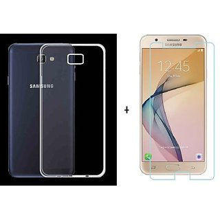 new product 3bf56 4e899 Samsung Galaxy J7 Max Transparent Back Cover + Tempered Glass ( Combo Deal)  Standard Quality
