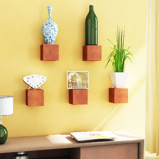 Home Sparkle MDF Set of 5 Cubes Shelf For Wall Dcor -Suitable For Living Room/Bed Room (Designed By Craftsman)