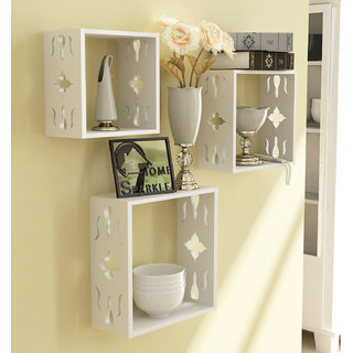 Home Sparkle MDF 3 Cube Shelves For Wall Dcor -Suitable For Living Room/Bed Room (Designed By Craftsman)