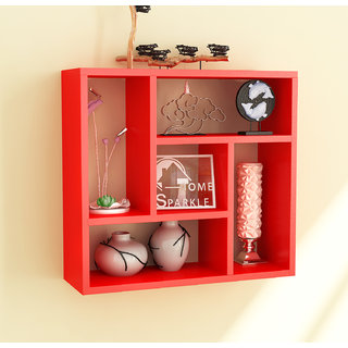 Home Sparkle MDF Square Wall Shelf For Wall Dcor -Suitable For Living Room/Bed Room (Designed By Craftsman)