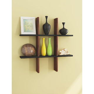 Home Sparkle MDF Plus Shaped Wall Rack For Wall Dcor -Suitable For Living Room/Bed Room (Designed By Craftsman)