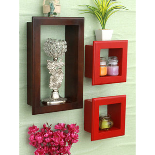 Home Sparkle MDF Set of 3 wall shelves w/Frames For Wall Dcor -Suitable For Living Room/Bed Room (Designed By Craftsman)