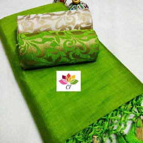 Florence Women's Light Green Art Silk Leheria Saree With Blouse