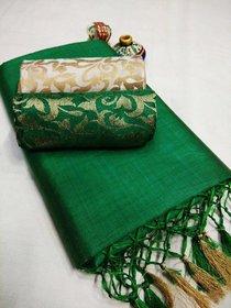 Florence Women's Green Art Silk Leheria Saree With Blouse