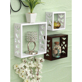 Home Sparkle MDF Set of 3 cube Wall Shelves For Wall Dcor -Suitable For Living Room/Bed Room (Designed By Craftsman)