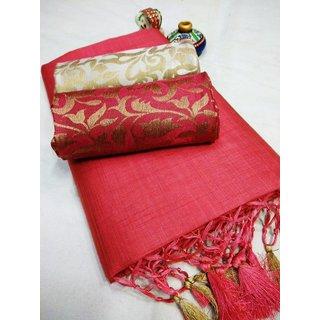 Saadhvi Women's Peach Art Silk Leheria Saree With Blouse