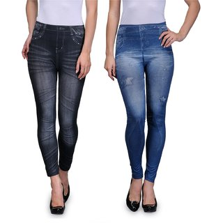 ENAA FASHION Women  Girls Stretchable Jeggings in Denim Look (Pack Of 2)