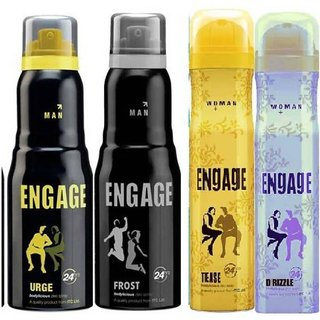 EEngage Men Deo And Womens deo (Rush, Urge) (Tease And Drizzle) (150ml each) (Flavours May Vary)