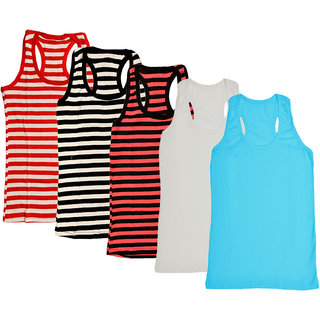 IndiWeaves Women Cotton Back Cut Tank Tops (Pack of 5)