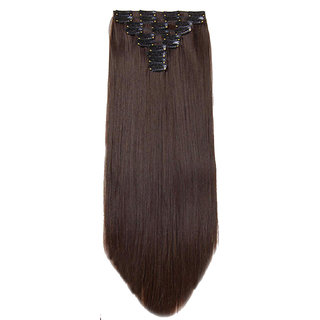 GadinFashion 14 Clips Straight Head Hair Extensions For Women Real Hair And Hair Extensions For Girls To Increase Instant Length And Volume (Brown)
