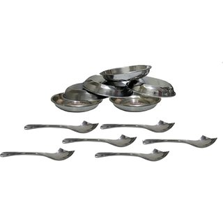 12pcs stainless steel dessert plates with dessert spoons