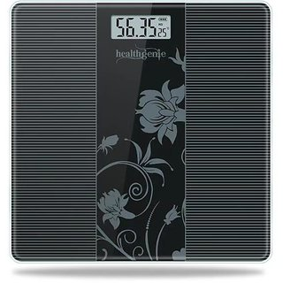 Healthgenie Electronic Digital Weighing Machine Bathroom Personal Weighing Scale, Max Weight 180 Kgs. Weighing Scale (Black 93)