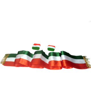 Kaku Fancy Dresses Tricolor Stole / Tricolor Wrist Band / Tricolor Scarf for Independence Day / Republic Day (6Pcs)