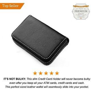 Mens GENUINE Black Card Holder Wallet with Stitch Detail BY VALENTINE FASHION