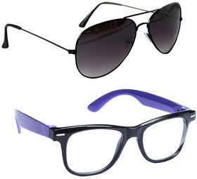 Combo Of Sunglasses With Black Aviator And Transparent Wayfarer Style In Bl