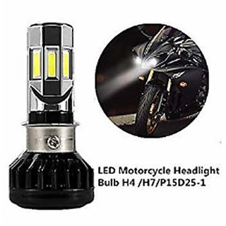 BIKE MOTORCYCLE SCOOTER LED HEADLIGHT BULB H4 H6 RTD BRAND 35W 12V WATER RESISTANT 175 BRIGHTER 3D 6 LED