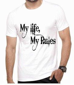 Eysom Men's White Digital Print Cotton Round Neck T-Shirt
