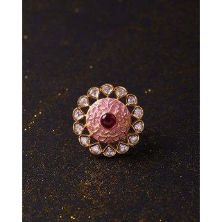 Voylla Kundan Stanza Studded Disc Ring