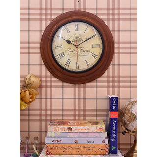 Home Sparkle Vintage Style Wall Clock Suitable For Bedroom/Living Room Dcor/Gifting Purpose( Brown )