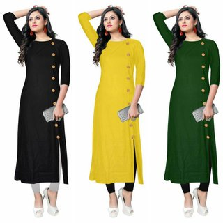 Aiza collection multicoloured crepe designer kurti green combo pack of three
