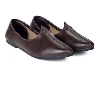 Bxxy Men's Brown Colour Faux Leather Jutti's  Nagra's and Mojari's