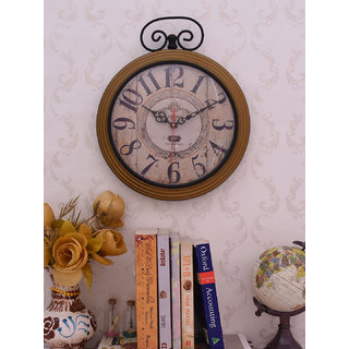 Home Sparkle Vintage Style Wall Clock Suitable For Bedroom/Living Room Dcor/Gifting Purpose( Golden )