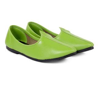Bxxy Men's Green Colour Faux Leather Jutti's  Nagra's and Mojari's