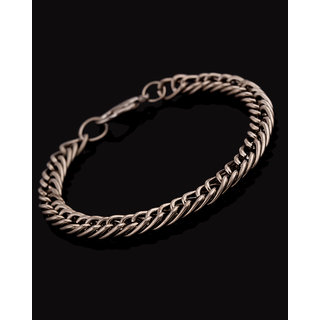 Voylla Silver Tone Bracelet Featuring Oval Geometric Links
